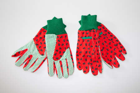 garden glove two pairs protect hands trendy on gray table background