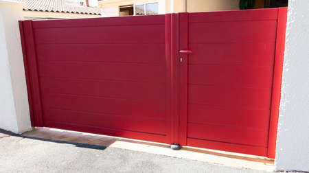 portal red design home door metal aluminum gate of modern garden house