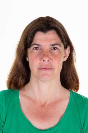 woman official photos for international passport id portrait Banque d'images