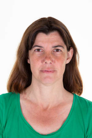 woman official photos for international passport id portrait Stock Photo