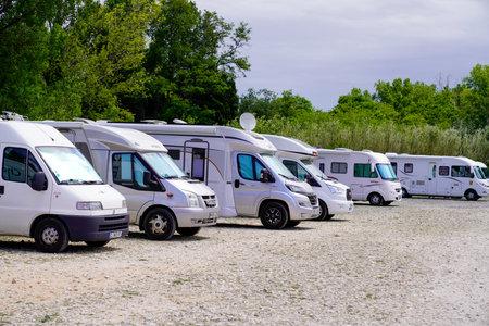 Bordeaux, Aquitaine France - 05 27 2021: motorhome parking area for camper van in tourism place tour Editorial