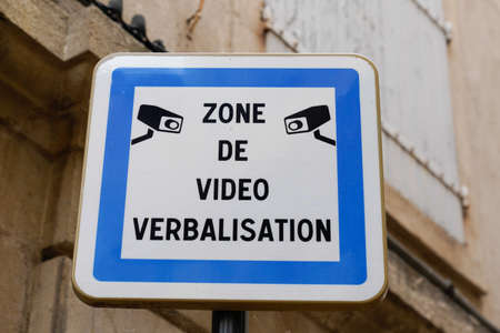 video area panel verbalizing text sign means in french zone de video verbalization