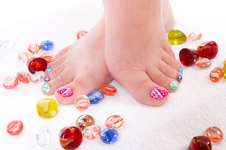 nails: Colored toes Stock Photo