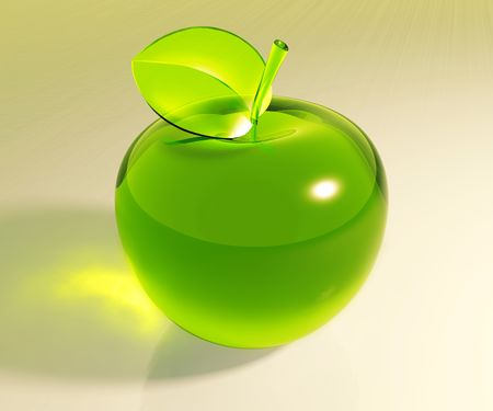 Symbolic green glass apple, 3d photo