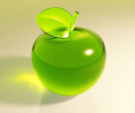 Symbolic green glass apple, 3d photo
