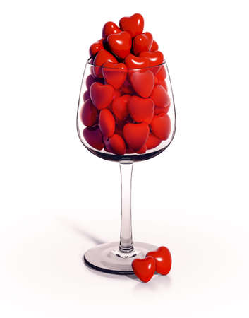 overfilled: Wineglass overfilled with red hearts, 3d
