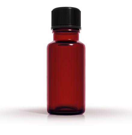 Medical bottle of dark red glass, 3d Stock Photo - 8531242