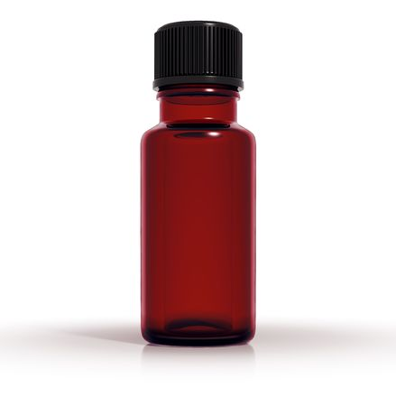 Medical bottle of dark red glass, 3d Stock Photo - 8531242