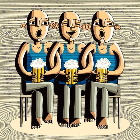 friends laughing: Beer drinking friends, drunk boys singing, caricature