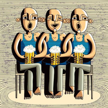 caricaturas de personas: Cerveza beber a amigos, borrachos ni�os cantando, caricatura