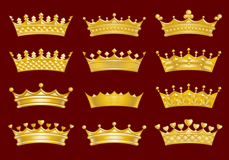 heart with crown: Golden crowns set