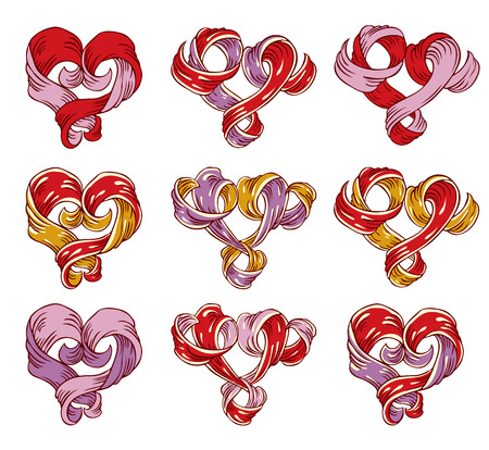 Ribbon created hand drawn vintage hearts set Stock Vector - 8559936