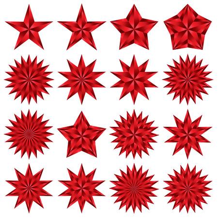 Red stars set. Pentagonal. Vector