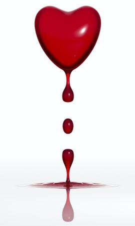 hemorragias: Sangre cayendo coraz�n aislado sobre fondo blanco. render 3D Foto de archivo