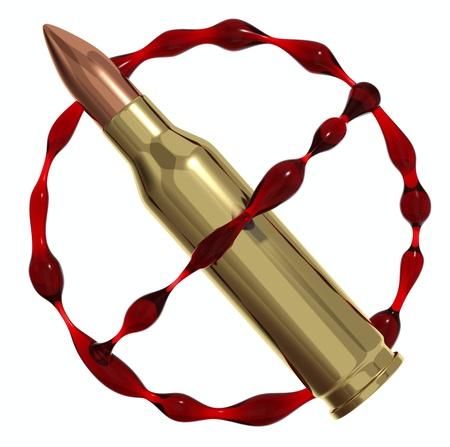 disarm: Anti war symbol created of bullet and blood. Against killing icon. 3d render