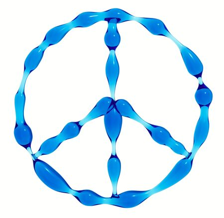 protest signs: Peace symbol created of water isolated on white background. 3d render