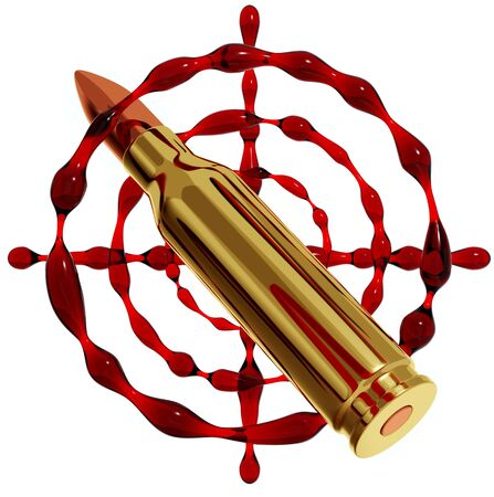 3d bullet: Bullet and blood target. 3d  Stock Photo