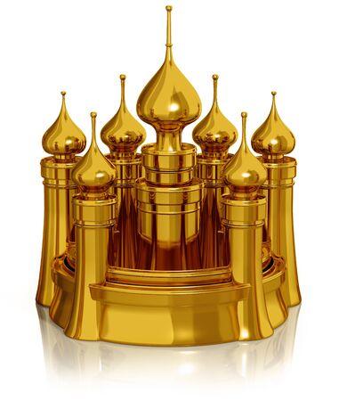Golden castle isolated on white 3d