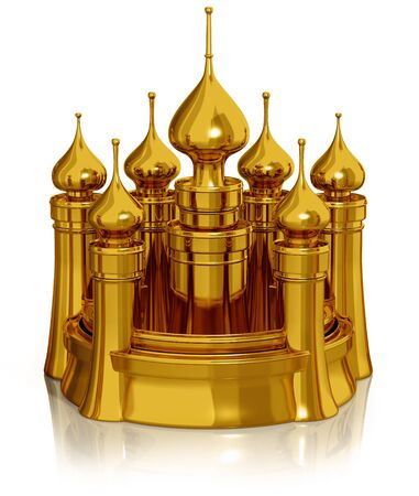 polished: Golden castle isolated on white 3d