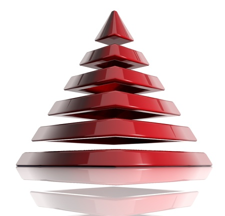 Pyramid created of layered elements. 3d