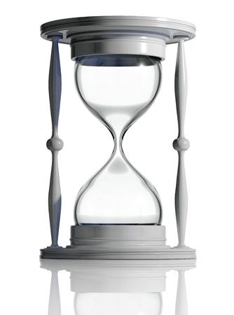 no pase: Tiempo de espera. Reloj de arena vac�a aislado. 3D