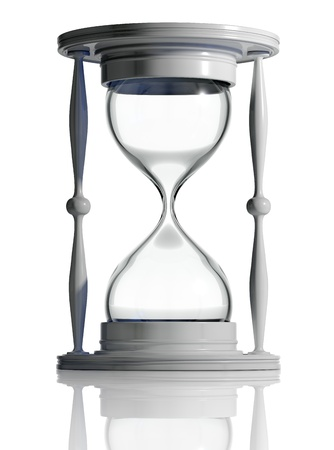 sand timer: Time out. Empty sand watch isolated. 3d