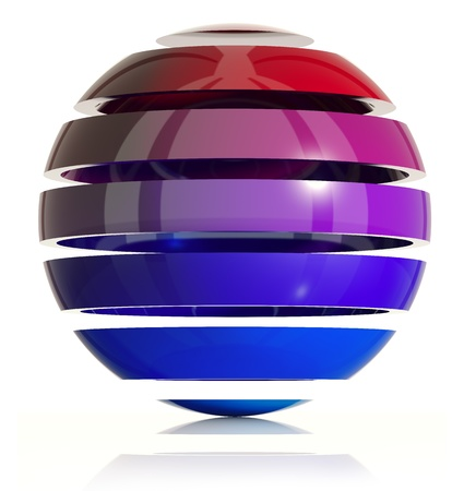 3d sphere design. Made of ring elements. 3d  Stock Photo