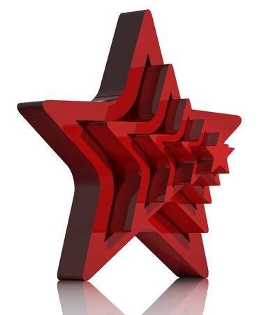 Red star 3d icon isolated on white. Stock Photo - 9091965