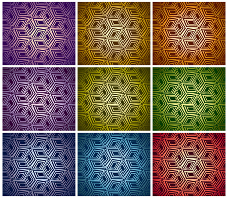 3d boxes seamless patterns collection. Vector