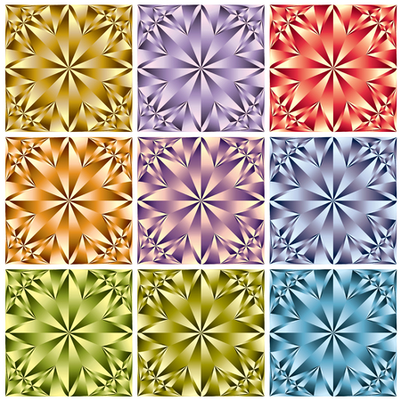 Flower shaped crystal seamless patterns set.  Vector