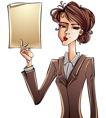 female boss: Business girl holding paper page. Illustration