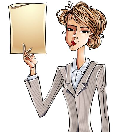 hand holding paper: Business girl holding paper page. Illustration