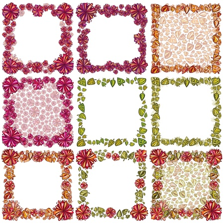 Frames set created of flowers and leaves. Vector