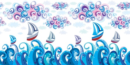 Sea, clouds and yachts on waves. Seamless. Vector