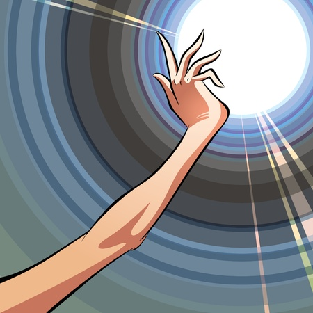 glowing skin: Reach the light. Female hand directed to illumination.  Illustration