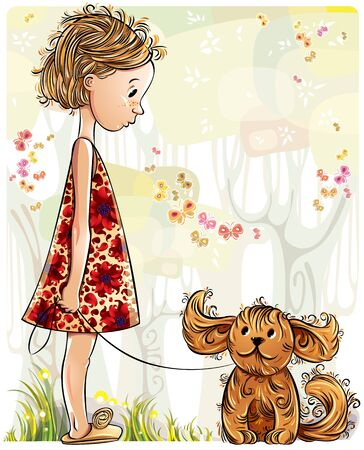 puppies: Little girl with puppy in the park Illustration