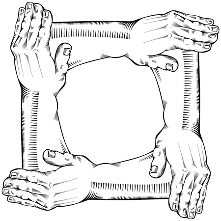 hands joined: Teamwork. Illustration