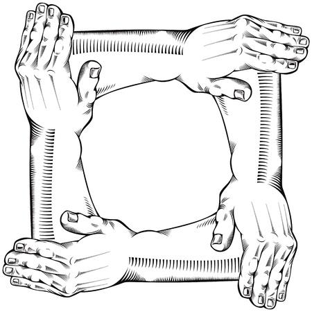 manos unidas: Trabajo en equipo. Vectores