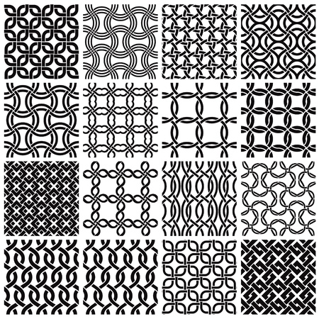 Set of geometric seamless patterns. Vector
