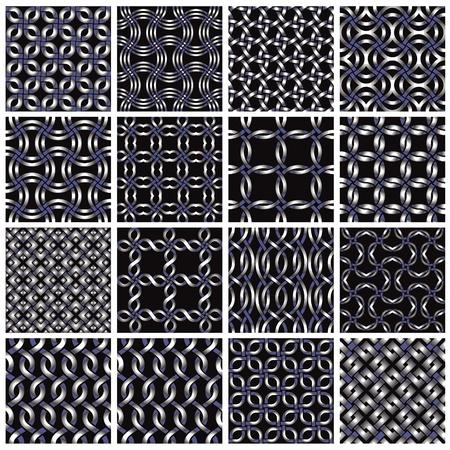 Metal seamless patterns set 2. Stock Vector - 10338487