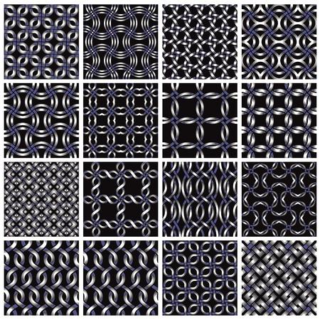Metal seamless patterns set 2. Vector