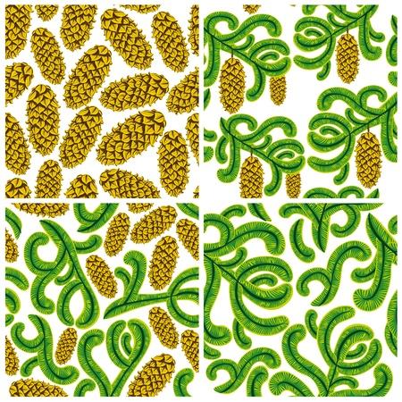 Spruce seamless patterns set. Vector