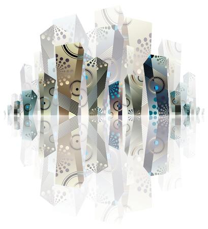 City panorama artistic illustration. Illustration