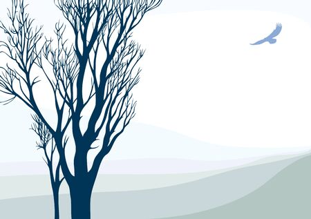 Tranquil landscape with flying eagle. Vector