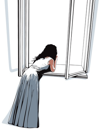 Girl watching through window Vector