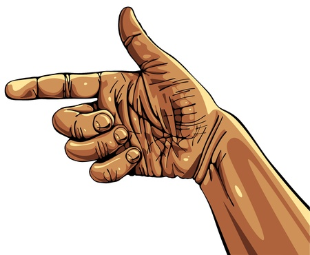 Pointing hand, wrist of manual worker. Vector