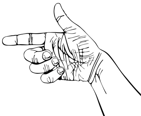 Pointing hand, wrist of manual worker, black. Vector