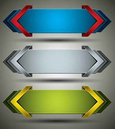 Horizontal 3d banners finished with arrows. Vector