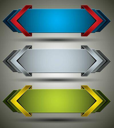 Horizontale 3d banners afgewerkt met pijlen.