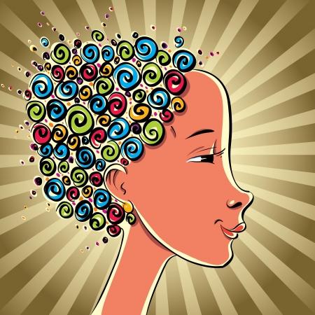 Girl with color curls hair, vector cartoon. Vector